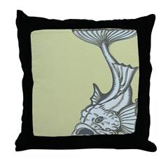 Blue Art Nouveau Fish Throw Pillow