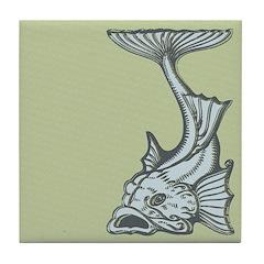 Blue Art Nouveau Fish Tile Drink Coaster