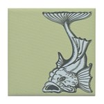 Blue Art Nouveau Fish Tile Drink Coaster