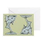 Blue Art Nouveau Fish Greeting Card