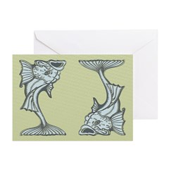 Blue Art Nouveau Fish Greeting Cards (Pk of 20)