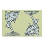 Blue Art Nouveau Fish Postcards (Package of 8)