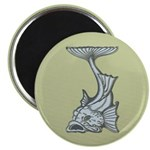 """Blue Art Nouveau Fish 2.25"""" Magnet (10 pack)"""