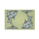 Blue Art Nouveau Fish Rectangle Magnet (100 pack)