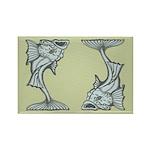 Blue Art Nouveau Fish Rectangle Magnet (10 pack)
