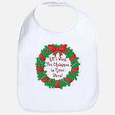 Wreath Disc Golf Christmas Bib