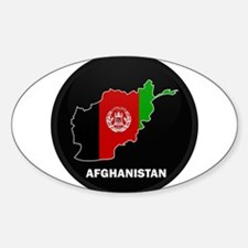 Flag Map of Afghanistan Oval Decal