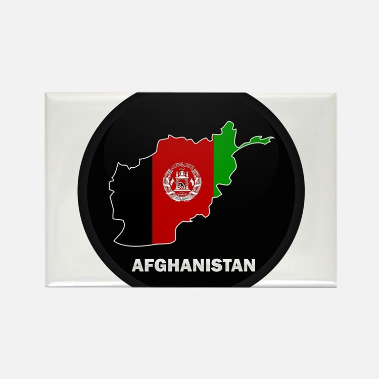 Flag Map of Afghanistan Rectangle Magnet