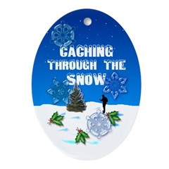 Geocaching Oval Ornament