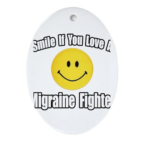 """Love a Migraine Fighter"" Oval Ornament"