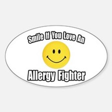 """""""Love an Allergy Fighter"""" Oval Stickers"""