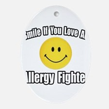 """Love an Allergy Fighter"" Oval Ornament"