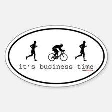 It's Business Time Duathlon Oval Decal