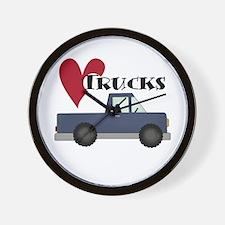 Blue Truck Love Trucks Wall Clock
