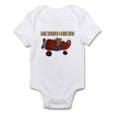 Red Airplane with Bear Infant Bodysuit