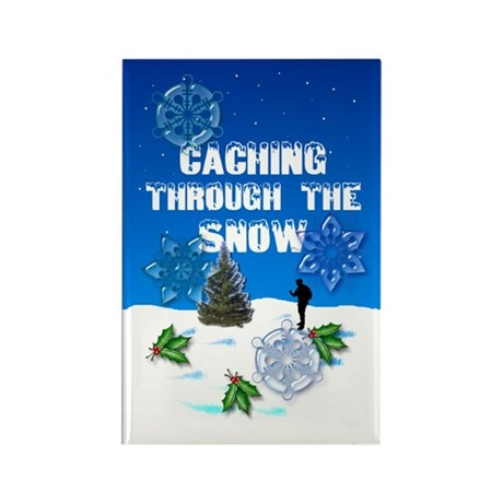 """Caching Through the Snow"" Rectangle Magnet"