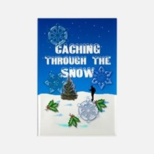"""""""Caching Through the Snow"""" Rectangle Magnet"""