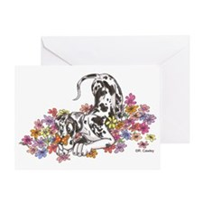 NH Pup In Flowers Greeting Card