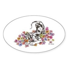 NH Pup In Flowers Oval Decal