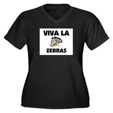 Viva La Zebras Women's Plus Size V-Neck Dark T-Shi