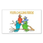 Four Calling Birds Rectangle Sticker