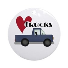 Blue Truck Love Trucks Ornament (Round)
