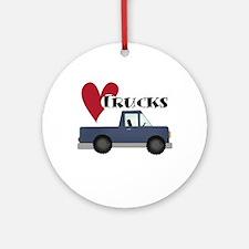 Blue Truck Love Trucks Ornament (Round)