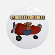 Red Airplane with Bear Ornament (Round)