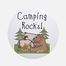 Bear Camping Rocks Ornament (Round)