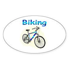 Biking Oval Sticker (10 pk)