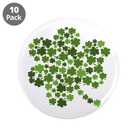 "Shamrocks in a Shamrock 3.5"" Button (10 pack)"