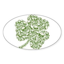 Skulls in a Shamrock Oval Decal