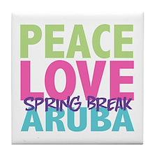 Peace Love Spring Break Aruba Tile Coaster