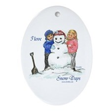 I Love Snow Days Oval Ornament