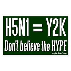 H5N1 = Y2K Bug Bumper Decal