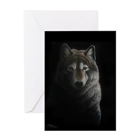 Black Wolf Greeting Card - Blank Inside
