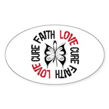 Lung Cancer Faith Oval Decal