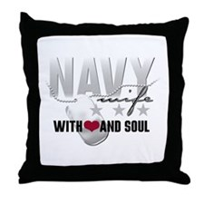 Navy Wife - With Heart and So Throw Pillow