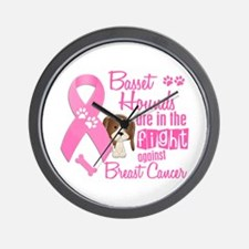 Basset Hounds Against Breast Cancer 2 Wall Clock