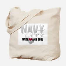 Navy Mom - With Heart and Sou Tote Bag