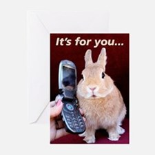 Bunny On Phone Greeting Cards (Pk of 10)