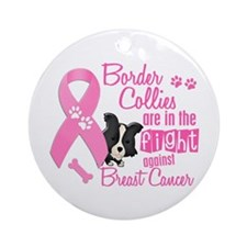 Border Collies Against Breast Cancer 2 Ornament (R