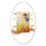 Musical Happy Easter Oval Sticker