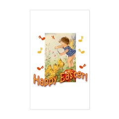 Musical Happy Easter Rectangle Decal