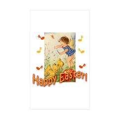 Musical Happy Easter Rectangle Sticker 50 pk)