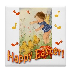 Musical Happy Easter Tile Coaster
