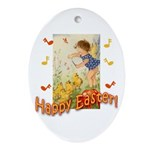 Musical Happy Easter Oval Ornament