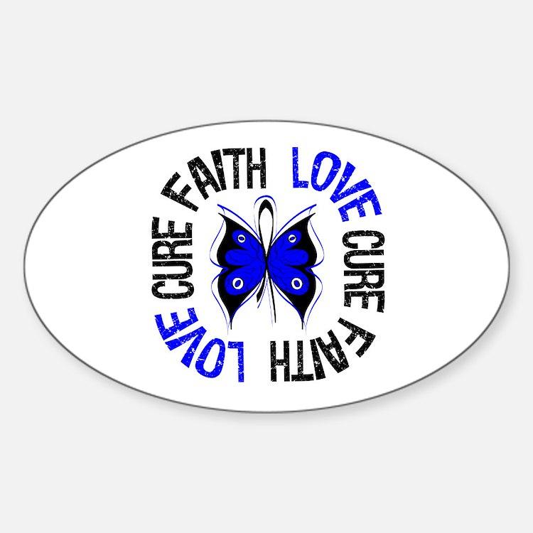 Colon Cancer Faith Oval Sticker (10 pk)