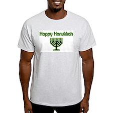 Basic Happy Hanukkah Ash Grey T-Shirt
