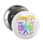"""Flame on! Gay Hanukkah 2.25"""" Button (10 pack)"""